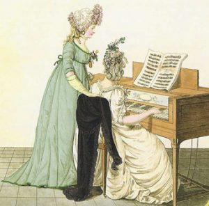 Two Regency ladies at the piano